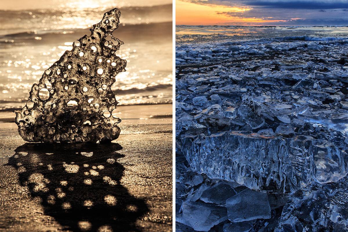 写真左は、まるで彫刻のようなジュエリーアイス。 写真右では、海岸にたどり着いた多くのジュエリーアイスを伺うことができる