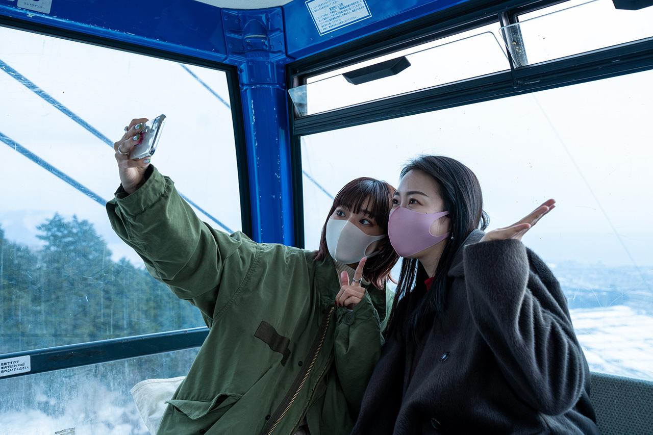 ゴンドラからの雪景色はSNS映え!