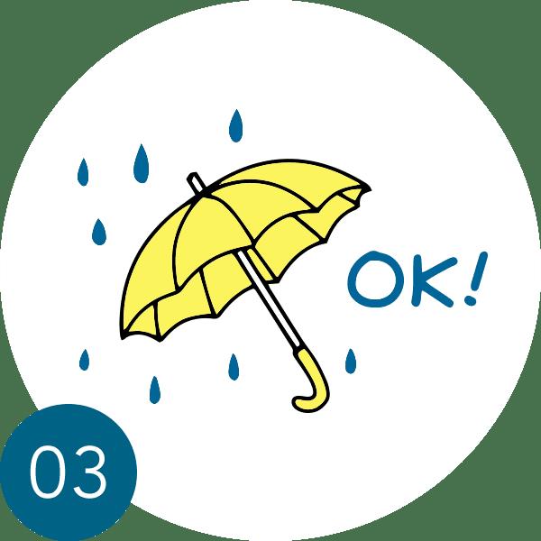雨でのドタキャンはNG