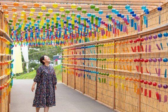 京都から1時間「びわこ箱館山」に新スポット「風鈴のよし小道」と「ペチュニア畑」が登場
